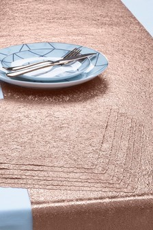 7 Piece Metallic Table Mats And Runner Set