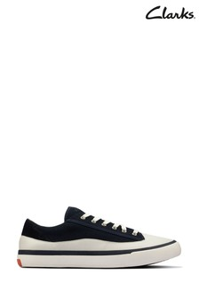 Clarks Navy Canvas Aceley Lace Trainers