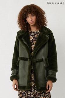 Warehouse Green Longline Faux Fur Biker Jacket