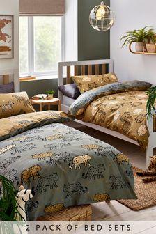 2 Pack Khaki Green 100% Cotton Safari Animals Duvet Cover And Pillowcase Set
