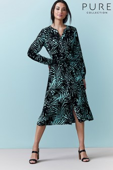 Pure Collection Black Leaf Printed Drawstring Dress