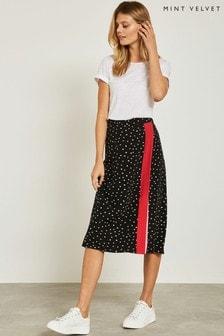 Mint Velvet Black Spot Blocked Skirt