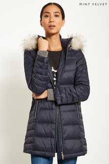 Mint Velvet Blue Quilted Lightweight Padded Parka With Fur