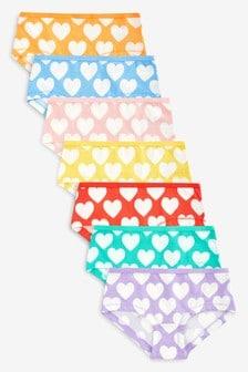 Hipster Briefs Heart Print Seven Pack (2-16yrs)