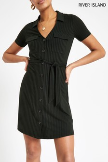 River Island Khaki Utility Rib Shirt Dress