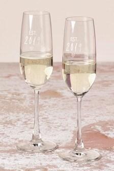 Set of 2 Est in 2019 Champagne Flutes