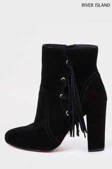 River Island Black Tassel Heel Boot