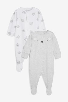 Bear Character Sleepsuits Two Pack (0mths-2yrs)