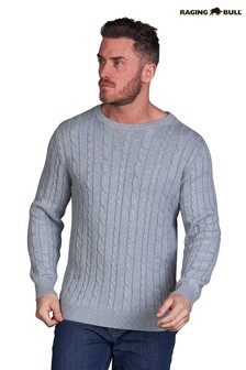 Raging Bull Grey Signature Cable Knit Crew Neck Sweater