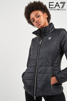 EA7 Black Quilted Training Jacket