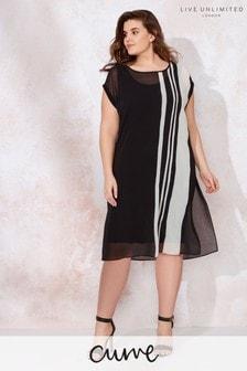 Live Unlimited Black Mono Chiffon Stripe Dress