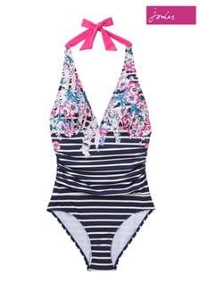 Joules Blue Oceanne Halterneck Swimsuit