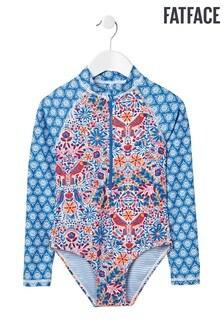 FatFace Blue Rainforest Long Sleeve Zip Swimsuit
