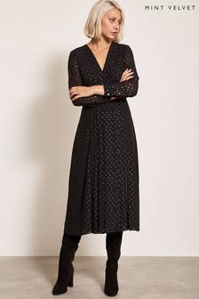 Mint Velvet Black Midi Dress