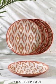 Set of 4 Ikat Patterned Melamine Side Plates