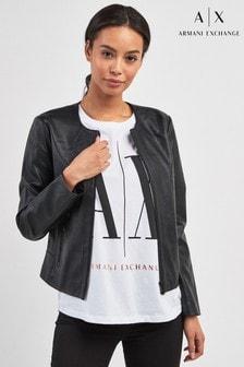 Armani Exchange Black Tailored Faux Leather Jacket