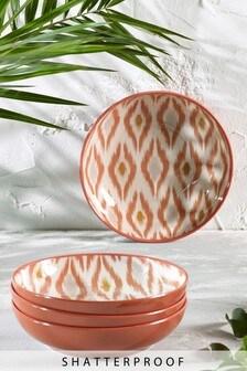 Set of 4 Ikat Patterned Melamine Bowls