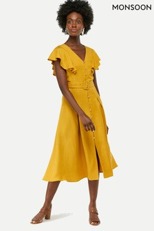 Monsoon Ladies Yellow Kristina Fit & Flare Dress