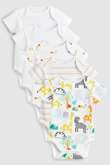 Character/Stripe Short Sleeve Bodysuits Five Pack (0mths-2yrs)
