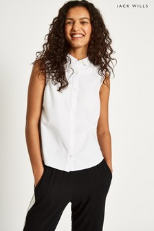 Jack Wills White Averton Sleeveless Shirt