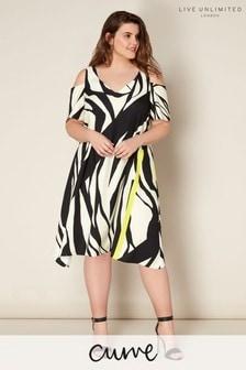 Live Unlimited Zebra Print Satin Back Cold Shoulder Dress