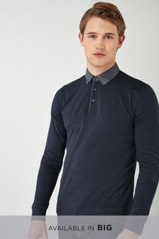 Long Sleeve Woven Collar Polo