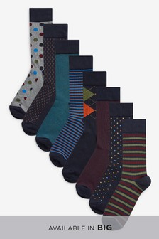 Mixed Pattern Socks Eight Pack