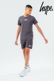 Hype. Mini Script Logo Charcoal T-Shirt And Jogger Short Set