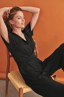 Textured Jersey Jumpsuit