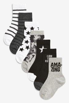 7 Pack Slogan Socks (Younger)