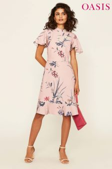Oasis Pink Lydia Lily Print Skater Dress