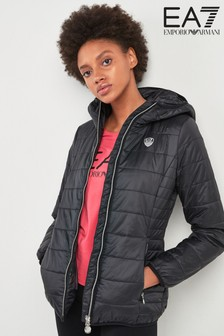 EA7 Black Quilted Training Hooded Jacket