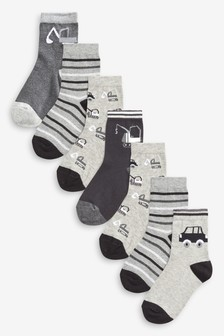 Cotton Rich Transport Socks Seven Pack (Younger)
