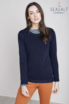 Seasalt Blue Indigo Woodsmoke Jumper
