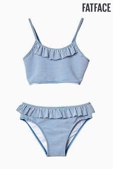 FatFace Blue Seersucker Stripe Bikini