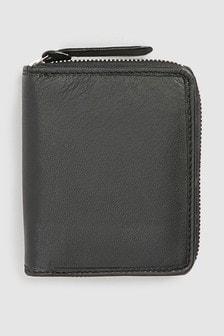 Leather Zip Around Bifold Wallet