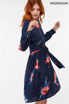 Monsoon Navy Janice Print Floral Tunic Dress