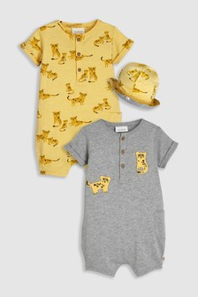 Animal Rompers Two Pack With Reversible Hat (0mths-2yrs)