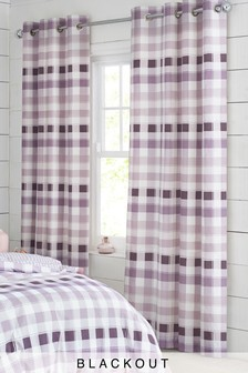 Gingham Check Blackout Eyelet Curtains