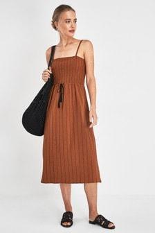 Shirred Tie Waist Dress