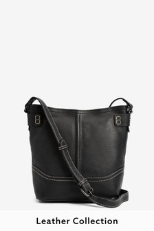 Leather Collection Stitch Detail Across-Body Bag