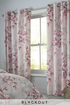 Blossom Floral Blackout Eyelet Curtains