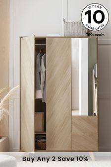 Anderson Oak Effect Triple Wardrobe with Mirror
