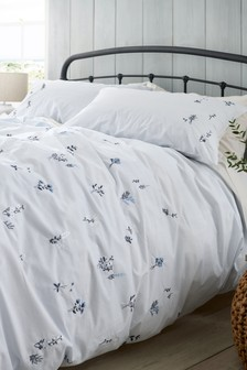 Embroidered Ditsy Floral Duvet Cover and Pillowcase Set
