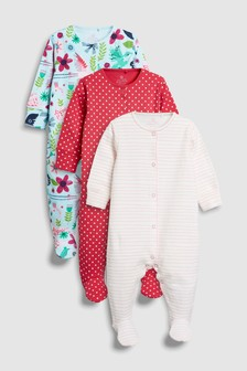 Flamingo Print Sleepsuits Three Pack (0mths-2yrs)