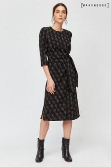 Warehouse Multi Snakeprint Twist Knot Dress