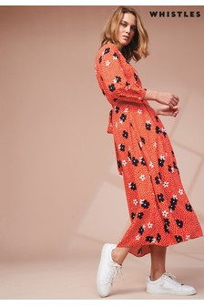 Whistles Red Confetti Floral Print Midi Dress