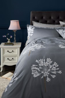 Embroidered Allium Duvet Cover and Pillowcase Set