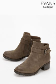 Evans Taupe Extra Wide Fit Buckle Strap Ankle Boot
