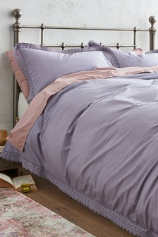 Washed Cotton Lace Edged Duvet Cover and Pillowcase Set